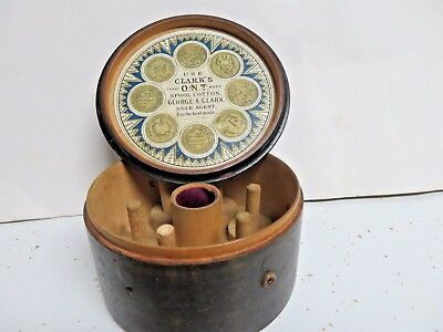 Antique George Clark Wood Thread Dispenser Box watch plaid