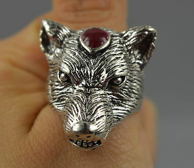 AAA China Decorate Tibet Silver Carve Fierce Wolf Head Rare Leader Ring Noble