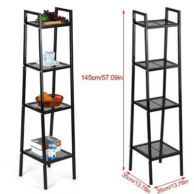 Iron Ladder Shelf Storage Rack Shelves Display Unit Free Standing 4 Tier Black