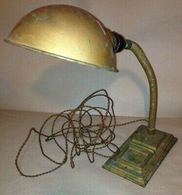 An old Art Deco 1930's Desk Lamp with Flexible Goose Neck - metal - industrial