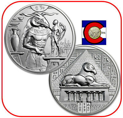 Khnum - 2 oz Silver BU UHR Coin/Round in capsule - Egyptian Gods Series