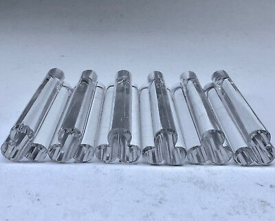 Vintage Set Of French 6 Solid Glass Knife Rests For Dinner Party Or Lunch