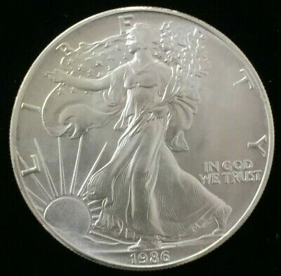 1986 1 oz Silver American Eagle BU Coin $1 Dollar Uncirculated Better Date AS611