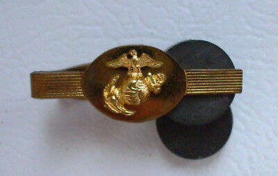Vintage United States Marine Corps Military BRASS Tie Clip Bar