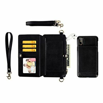 iPhone Xs Max Wallet Case Leather Zipper Detachable Flip Card Holder Shockproof
