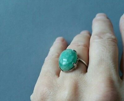 Antique Art Deco 1920's Sterling Silver Beautiful Jade Dress Ring Size K.5