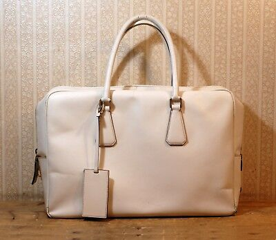 4cbdc72dc060 2500  PRADA off-white saffiano lux leather laptop briefcase messenger large  bag
