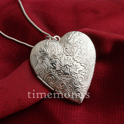 925 Sterling Silver Heart Open Photo Locket Wave Pendant + Necklace Chain D701