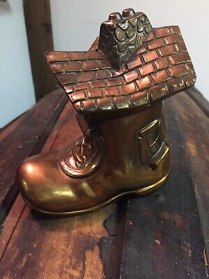 Vintage Original Old Woman In A Shoe Metal Coin Bank Crestline Mfg Brooklyn Ny