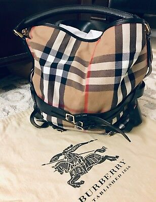 07079a32ae99 BURBERRY BRIDLE HOUSE Check Kenton Hobo - Authentic   Beautiful ...