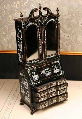 """Mirrored Asian Desk MUSEUM QUALITY DOLLHOUSE FURNITURE 1:12 or 1"""" Scale BESPAQ"""