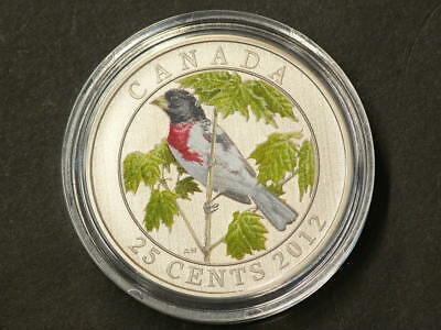 2012 Canada  25 Cents  Rose Breasted Grosbeak with CoA #1315