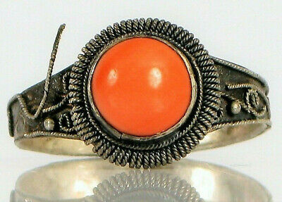 Antique Chinese Sterling Silver Art Deco Filigree Pink Coral Hallmarked Ring !