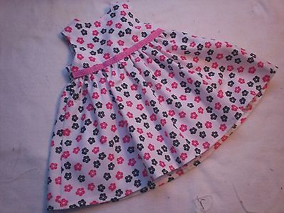 "American Made 18"" Girl Doll Clothes-Pink-Black Flowers on White Sleeveless Dress"