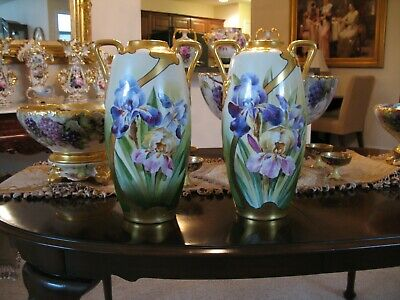 Pair Of Outstanding Hand Painted Porcelain Floral Vases By Pickard Artist Reury