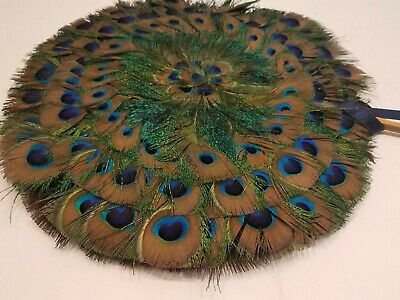 """Antique Victorian Style Peacock Feather Hand Fan Round 13"""""""