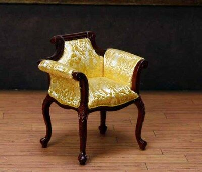 """Gold Fabric Chair MUSEUM QUALITY DOLLHOUSE FURNITURE 1:12 or 1"""" Scale BESPAQ"""
