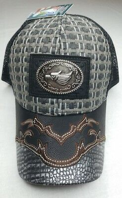 e8d620dc317 NWT USA Headwear Straw Woven Eagle Patched Mesh Snapback Western Cap Hat