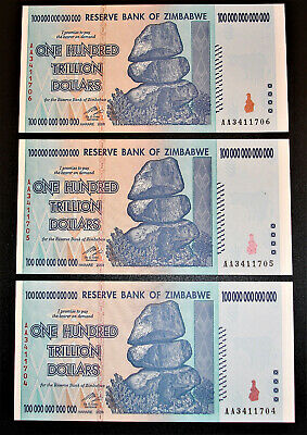 300 Trillion Zimbabwe Dollars Fresh Unc 2008 Aa Sequential Serial P-91 Banknotes