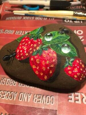 "Hand Painted Rock - By Sydney Artist :""YO""   Strawberries / Ants / Water Drops"