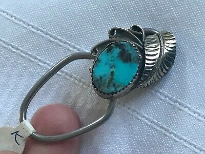 Navajo Turquoise Key Ring Sterling Silver Feather Zipper Pull Veining Stone