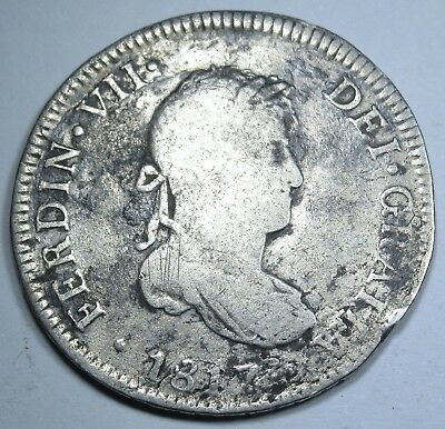 1817 JP Spanish Peru 2 Reales Piece of 8 Real US Colonial Two Bits Treasure Coin