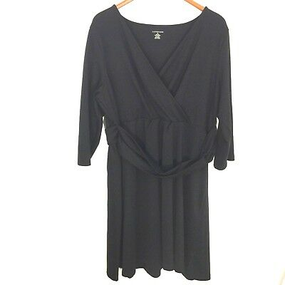 Studio One 2X Plus Women s Sweater Dress Cowl Neck Black Gold Casual 3 4  Sleeve.  23.99 Buy It Now 16d 23h. See Details. Lands End Black V-Neck 3 4  Sleeve ... def5f229c