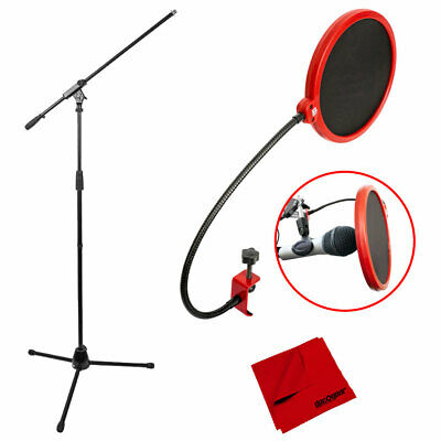 Microphone Stand Tripod with Boom Arm and Pop Filter Bundle Deco Mount