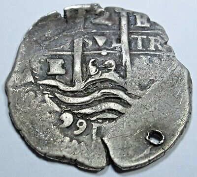 1662 Spanish Silver 2 Reales Piece of 8 Cob Real Colonial Pirate Treasure Coin