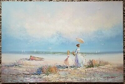 Victorian Seaside Mother/Daughter Impressionist Oil on Canvas Original Painting