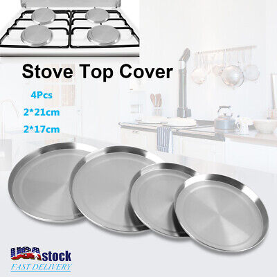 Set of 4 Stainless Steel Kitchen Stove Top Burner Covers Round Cooker Protection