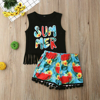 US Newborn Baby Kids Girl Toddler Tank Top Vest+Shorts Pants Outfits Clothes