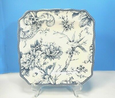 """222 Fifth Adelaide Blue & White Square 8 1/2"""" Salad Plate"""