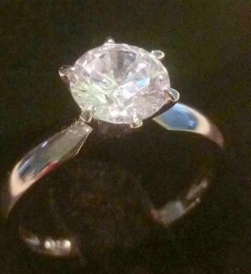 2 Ct Round Diamond Solitaire Engagement Ring White Gold Platinum Finish
