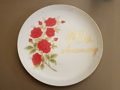 Vintage Papel China 40th Anniversary Red Roses Collector's Plate With Hanger