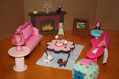 Lot of Barbie Doll House Furniture 23 Pieces Couches Fireplace Lamps T.V. Stands