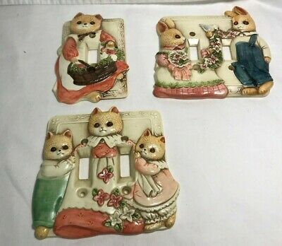 Vintage Takahasi 3D Light Switch Cover Plates - Set of 3