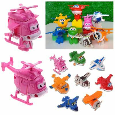 4/8/12Pcs Super WingsTransforming Animation Air-Planes Mini Toy Gift Free Ship