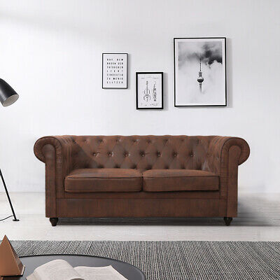 Chesterfield 2-Seater Leather Sofa Loveseat Settee Tufted For Living Guest Room