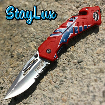 "Defender Xtreme High Quality 7.5"" Historic Flag Spring Assisted Folding Knife"