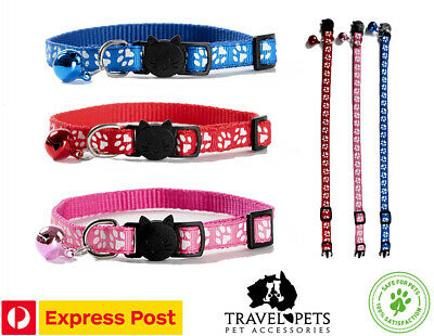 Paw Print Adjustable Cat Collar Pet Kitten Fun Bright Safe Quick Release New