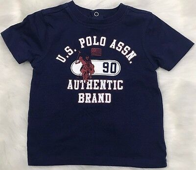 US Polo Assn Tee Shirt Baby Toddler 18 Month Navy Blue Short Sleeves Crew Neck
