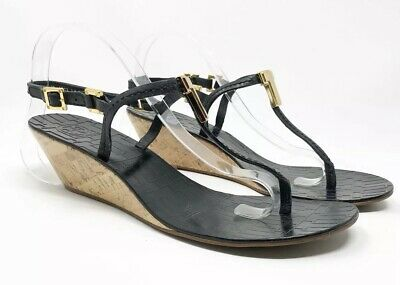 ac0056fd58b5 Tory Burch - Women s Pauline Black Gold Leather Cork Wedge Sandal Thong -  Size 9