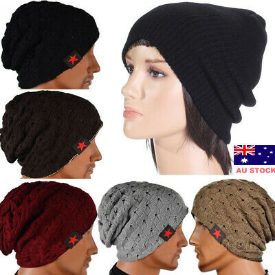 AU Mens Womens Winter Warm Knitted Crochet Slouch Baggy Beret Beanie Hat Cap Hot