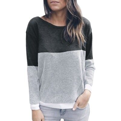 Automne Mode Femme Col en V Col rond Pull-over Chandail Pull tricote avec d O3Q5