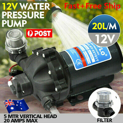 12V Water Pump 20L/MIN 70 PSI High Pressure Camping Caravan Farm Boat Deck Wash