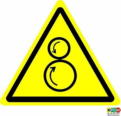 ISO Safety Label Sign - International Warning counter rotating rollers Symbol