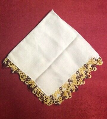 Great Vintage White Linen w/ White, Brown & Yellow Tatted Lace Edging  Hankie