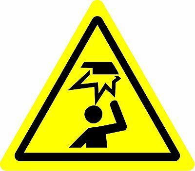 ISO Safety Label Sign - International Warning Overhead obstacles Symbol
