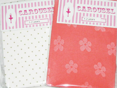 2x Girls Tights Age 3 4 5 6 7 8. White & Gold Dots / Coral Daisy spotty